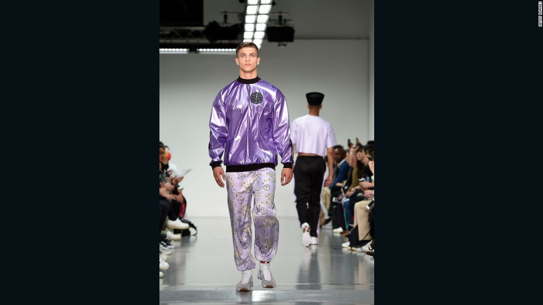 "In her show notes, Danish-born Astrid Andersen wrote that she used hip-hop stars A$AP Ferg and Missy Elliott as her muses for the collection, which pays homage to those ""who dare to dress bravely and have a point of view."" She merged sportswear with elements of traditional Chinese dress, such as the changshan, creating looks that are bold and delicate at the same time."