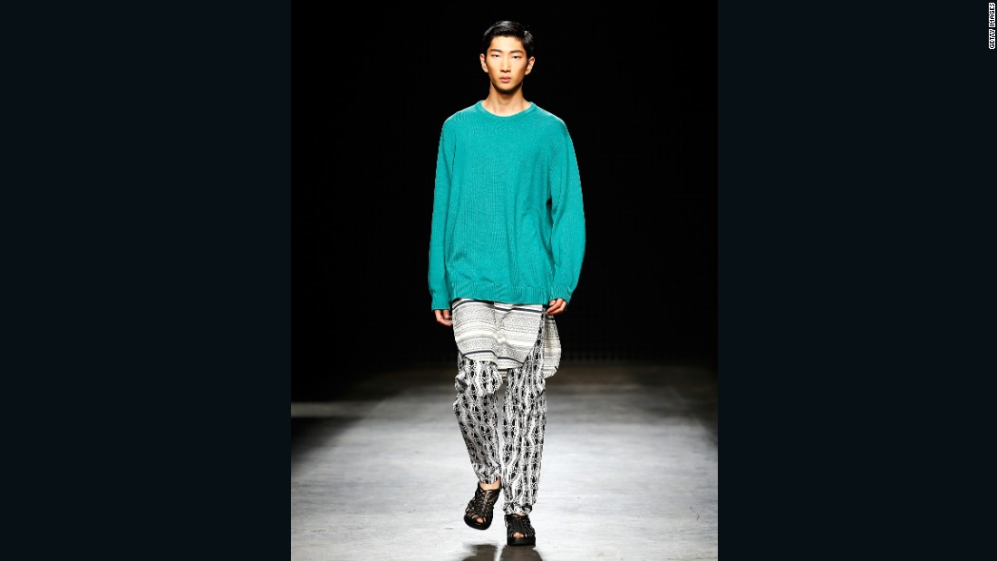 Casely-Hayford say this collection was inspired by their Colombian neighbors and a group of bikers who live near their studio. The model here appears to have woken up in tribal pajamas and thrown on dad's sweater for a bit of extra warmth.