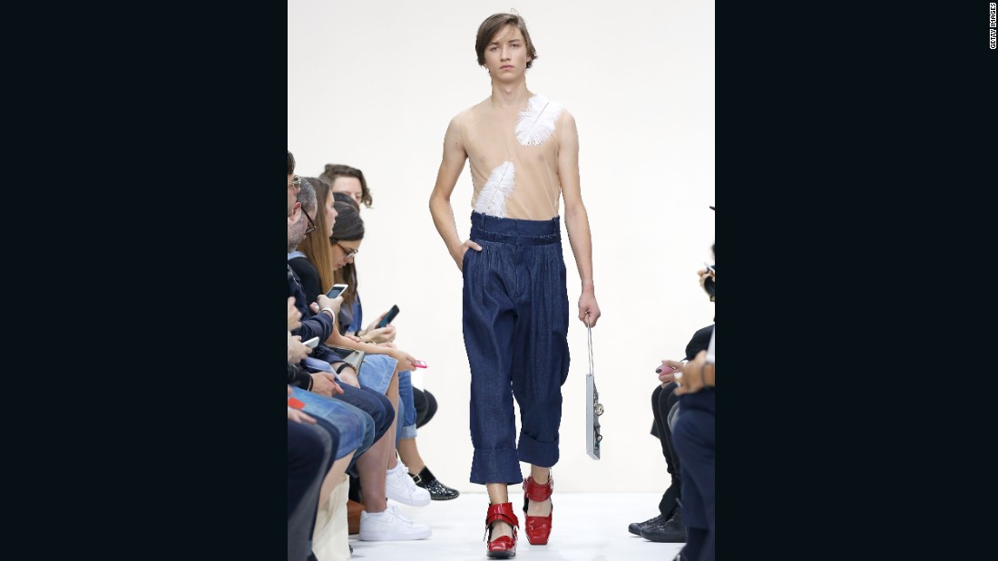 "J. W. Anderson told reporters that he sought to create a ""laid-back, Zen-like"" atmosphere with this collection. Will denim parachute pants and impractical shoes help this model reach nirvana?"