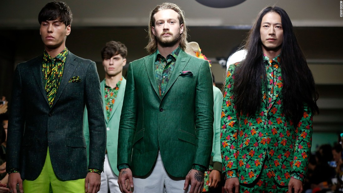 "Richard James may be on sabbatical from his eponymous menswear line, but his bold use of color and pattern still comes through. Entitled ""My Green Trauma"", the collection featured immaculately tailored suits in emerald, jade, and lime."
