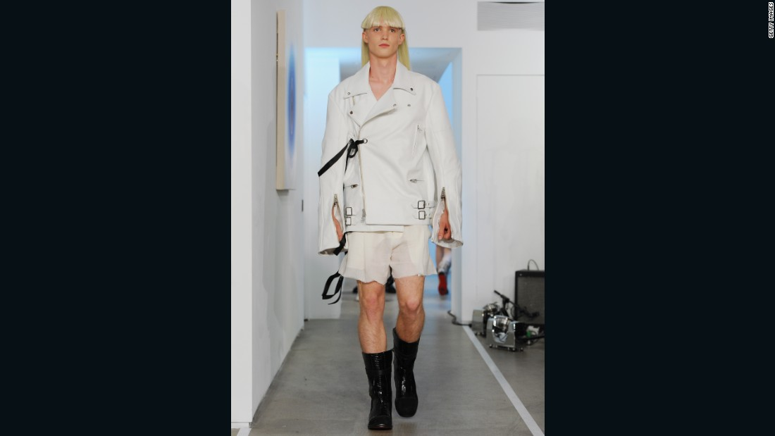 Todd Lynn has designed for U2, The Rolling Stones and Mick Jagger. That rock aesthetic comes through in this study in white. The leather jacket, the translucent shorts, the black leather boots — it all teems with rebellion.