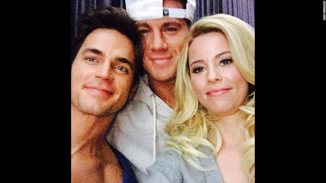 "Actress Elizabeth Banks takes a selfie with two of her ""Magic Mike XXL"" co-stars -- Matt Bomer, left, and Channing Tatum -- on Monday, June 15. ""These lovelies are back!"" <a href=""https://instagram.com/p/39gXQUJXR7/"" target=""_blank"">Banks said on Instagram.</a> ""Get tickets now and see exclusive video for @MagicMikeMovie - link in my bio!"""