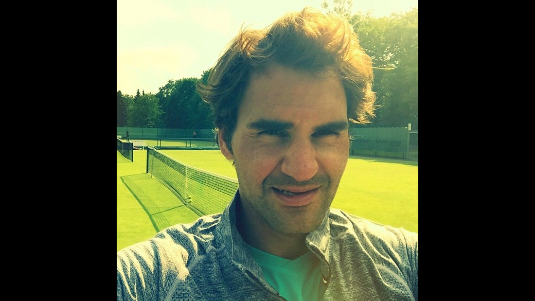 "Grass-court season has begun in the tennis world, and Roger Federer is ready, judging by <a href=""https://instagram.com/p/34y_wQAv84/"" target=""_blank"">this selfie he posted to Instagram</a> on Saturday, June 13. Federer is one of the greatest grass-court players ever, winning Wimbledon seven times in his career."