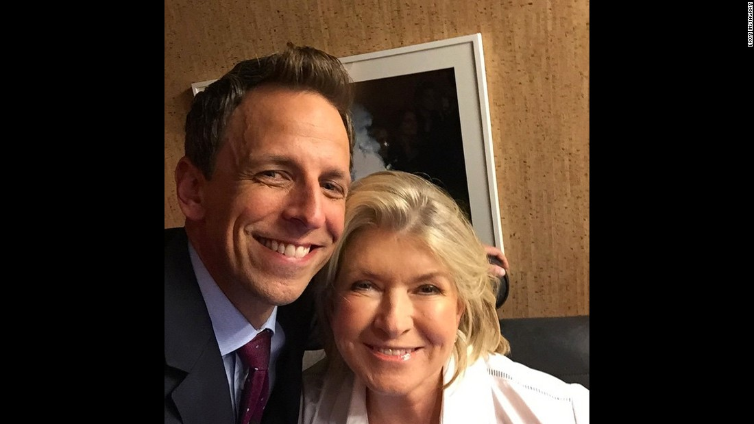 """Tonight, @marthastewart teaches me the fine art of putting things on crackers,"" <a href=""https://instagram.com/p/3-AgWqtsie/"" target=""_blank"">said talk-show host Seth Meyers</a> on Monday, June 15."