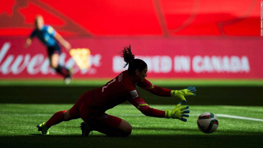 U.S. goalie Hope Solo makes a save against Nigeria during a match in Vancouver on June 16. The United States beat Nigeria 1-0.