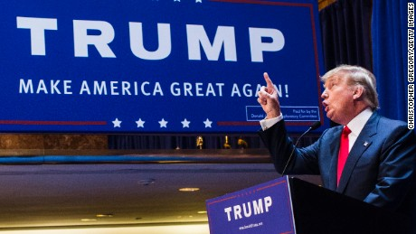 Donald Trump points as he announces his candidacy for the U.S. presidency.