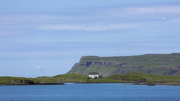 A church is shown on the island of Canna, the small town where the theft took place.