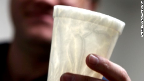 This coffee cup is made entirely from silk, making it biodegradable --and environmentally-friendly.
