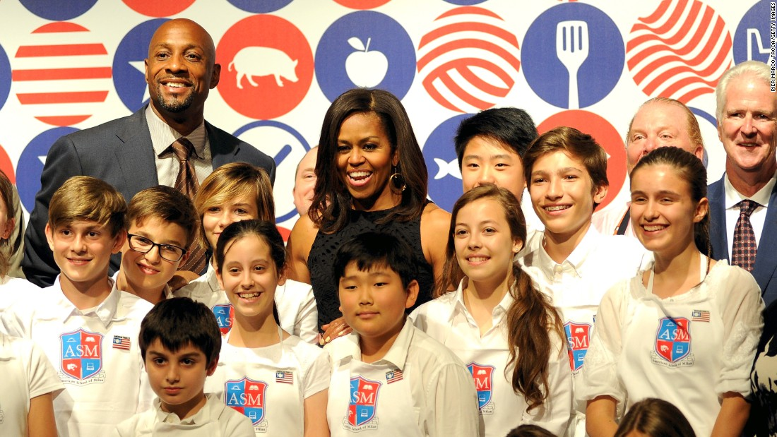 Obama hosted a cooking demonstration for students in Milan on June 17.
