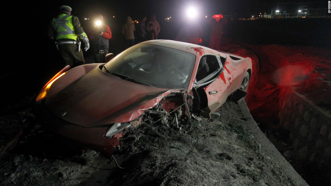The wreckage of Arturo Vidal's Ferrari after he was involved in a car crash on Tuesday while under the influence of alcohol.