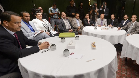 U.N. Special Envoy for Yemen Ismail Ould Cheikh Ahmed (far left) sits with rebels before peace talks.