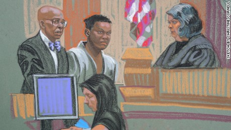A sketch of Fareed Mumuni in a Brooklyn court in 2015, after his arrest for stabbing an FBI agent.