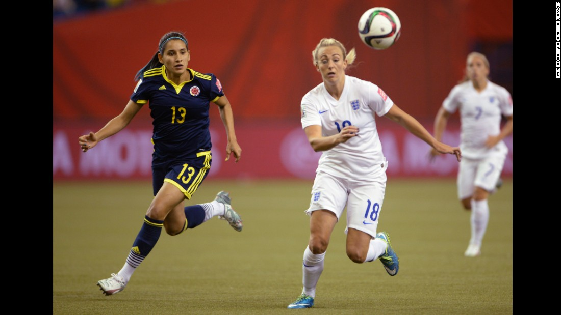 Colombia's Angela Clavijo and England's Toni Duggan chase the ball.
