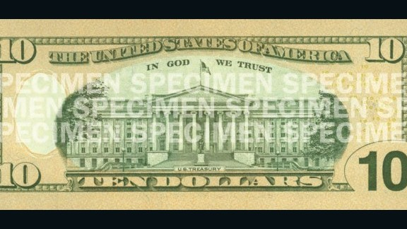 The back of the current bill features an image of the U.S. Treasury building. The angle from which the building is shown has changed over the years.