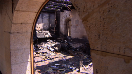 The Church of the Multiplication was burned on June 18. Israeli police have made arrests in the arson case.