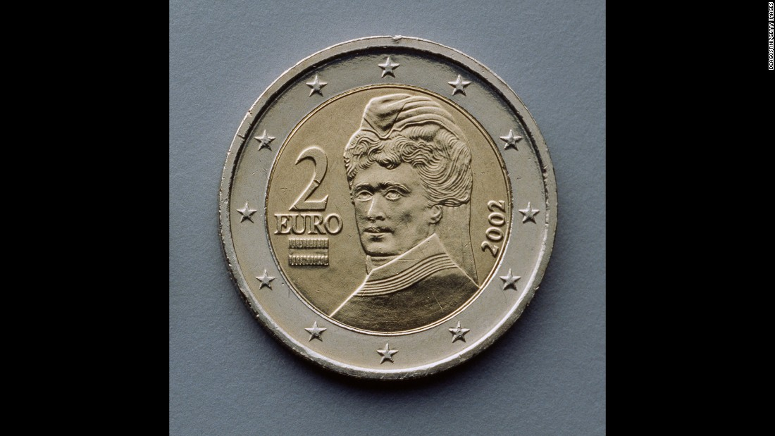 Bertha von Suttner, the first woman to be awarded the Nobel Peace Prize, is depicted on Austria's 2-euro coin.