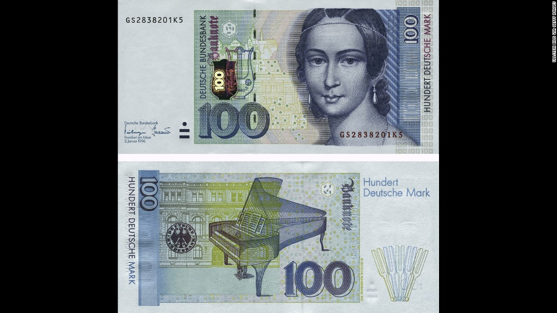 Before the country switched to the euro, Germany had pianist and composer Clara Schumann on its 100-Deutschmark banknotes.