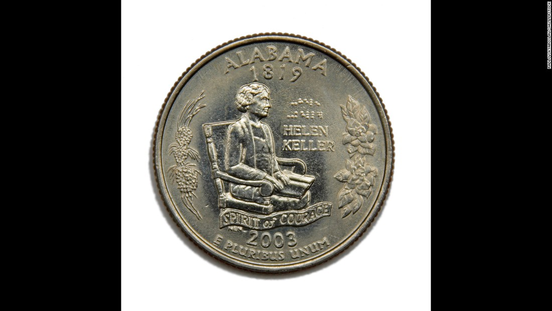 "Helen Keller, the deaf-blind author and activist whose inspiring story was told in the play and film ""The Miracle Worker,"" appears on the reverse of the Alabama quarter that was part of the 50 State series. It includes writing in Braille."