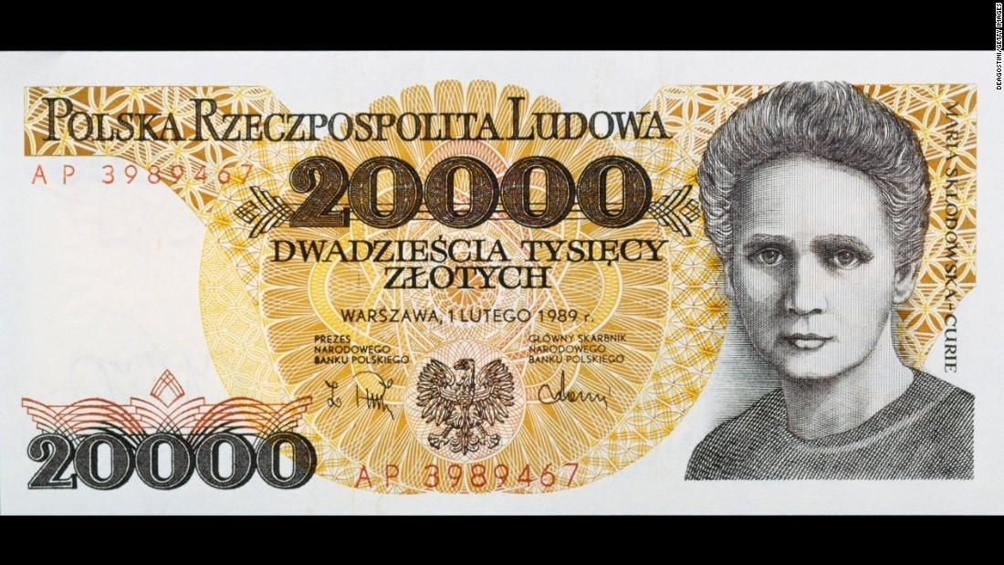 Scientist Marie Curie appeared on the Polish 20,000-zloty banknote in the '80s and '90s. She also appeared on the French 500-franc note with her husband, Pierre.