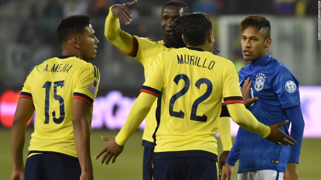 Neymar, who had already been booked, was shown a second yellow card after kicking the ball at an opponent after the referee's whistle had gone. He then also appeared to aim a headbutt at a Colombian opponent.
