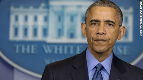 US President Barack Obama speaks about the shooting deaths of nine people at a historic black church in Charleston, South Carolina, from the Brady Press Briefing Room of the White House in Washington, DC, June 18, 2015.