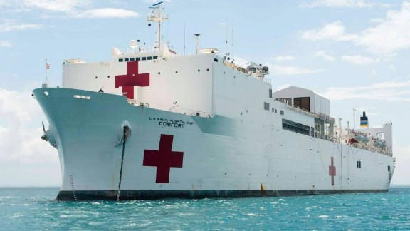 CARIBBEAN SEA (April 10, 2015) Military Sealift Command (MSC) hospital ship USNS Comfort (T-AH 20) sits anchored off the coast of Belize for it's first mission stop during Continuing Promise 2015.