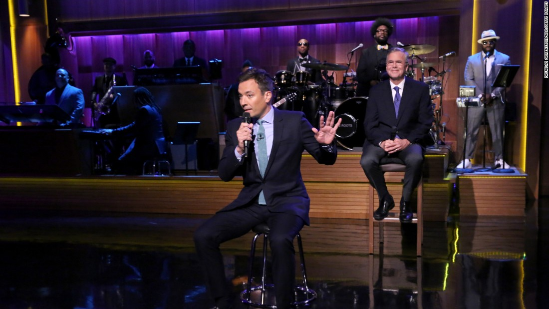 """Tonight Show"" host Jimmy Fallon <a href=""http://www.cnn.com/2015/06/17/politics/jeb-bush-slow-jams-news-fallon-tonight-show/index.html"" target=""_blank"">""slow jams"" the news</a> with Republican presidential candidate Jeb Bush on Tuesday, June 16. Bush is not the first politician to take part in Fallon's ""slow jam"" bit. Others include former Massachusetts Gov. Mitt Romney, New Jersey Gov. Chris Christie and President Barack Obama."
