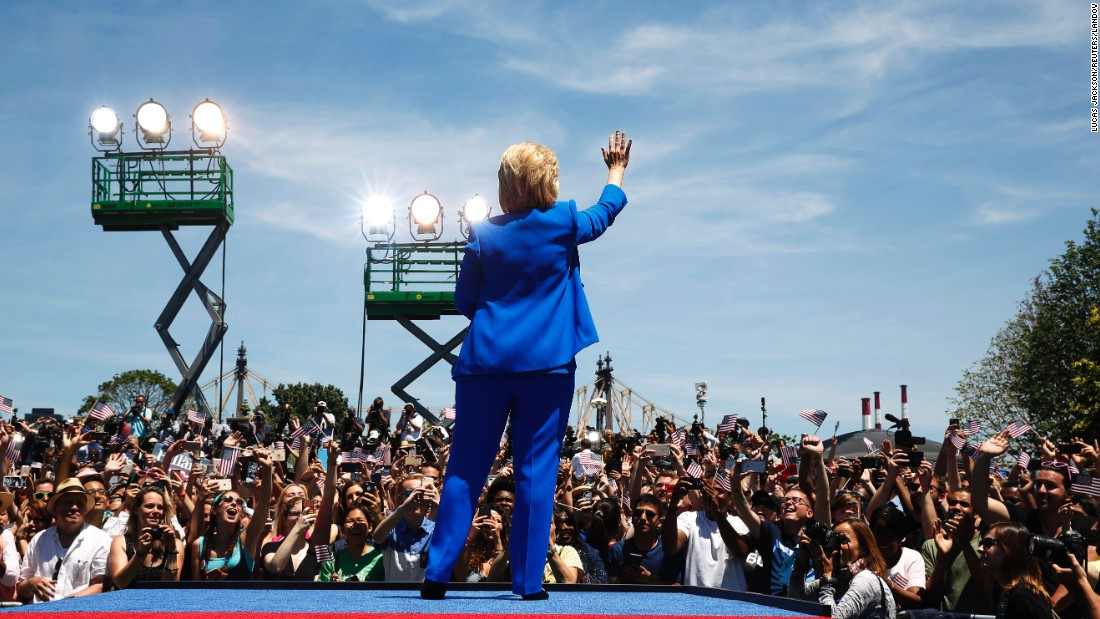 "Democratic presidential candidate Hillary Clinton waves to the crowd at a <a href=""http://www.cnn.com/2015/06/13/politics/hillary-clinton-roosevelt-island-rally/index.html"" target=""_blank"">campaign kickoff rally</a> in New York City on Saturday, June 13."