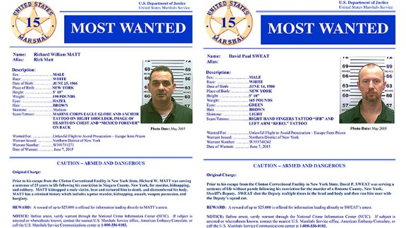 The U.S. Marshals Service has added Richard Matt and David Sweat to its list of the 15 most wanted criminals.
