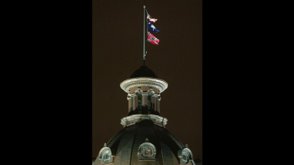 The Confederate flag flies over the Statehouse in Columbia, South Carolina, in 2000.