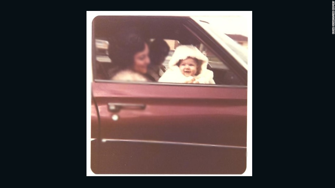 "<a href=""http://ireport.cnn.com/docs/DOC-1248898"">Elena Monaco</a> shared this photo of herself as a baby riding in the front seat of her car. She is sitting her godmother's lap in her godparent's car in 1976. Because she was so young, Monaco does not remember much of the '70s, but finds the clothes, and the relaxed child car seat laws, fascinating."