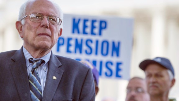 U.S. Senate Budget Committee ranking member Senator Bernie Sanders, I-Vermont, speaks during a news conference to discuss legislation to restore pension guarantees for thousands of retired union workers, in front of the US Capitol in Washington, D.C., June 18, 2015.