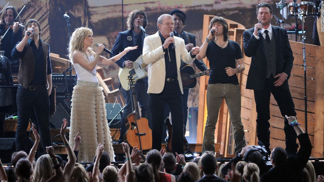During the 2012 Grammy Awards, Campbell was presented with the Recording Academy Lifetime Achievement Award.  He performed with the Band Perry and Blake Shelton as they paid tribute to his exceptional career. The year prior, in 2011, Campbell revealed that he had been diagnosed with Alzheimer's disease and would be embarking on a farewell tour.