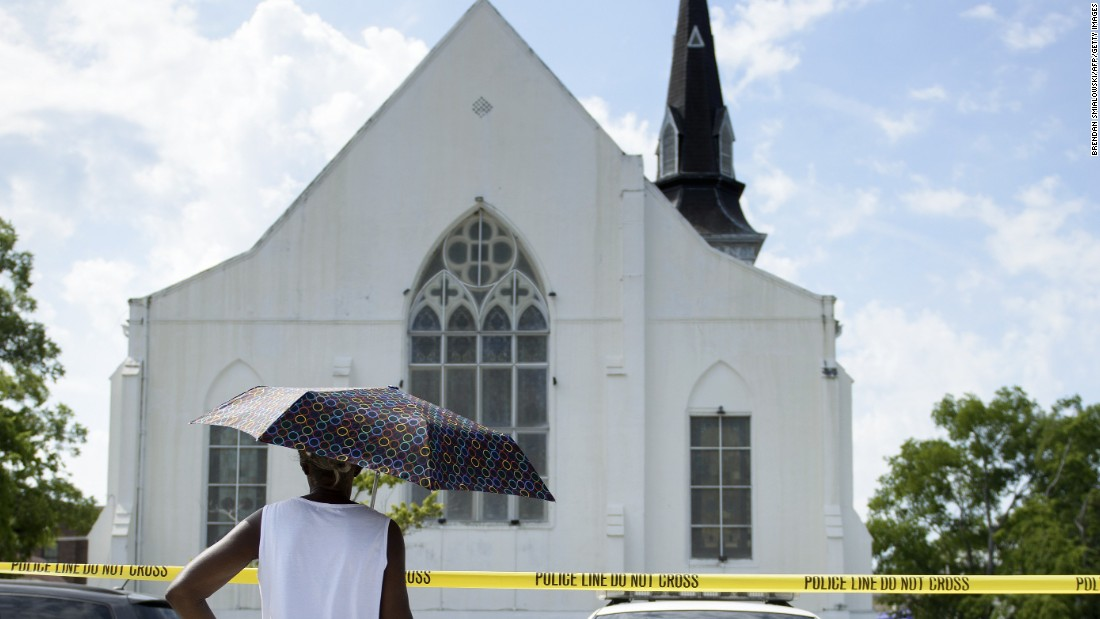 "Nine people died when a gunman opened fire on a Bible study at  <a href=""http://www.cnn.com/2015/06/18/us/charleston-south-carolina-shooting/"" target=""_blank"">Emanuel African Methodist Episcopal Church</a> in Charleston, South Carolina, on June 17.  A law enforcement official said witnesses told authorities the gunman stood up and said he was there <a href=""http://www.cnn.com/2015/06/21/us/charleston-shooting-race-wounds-exposed/"" target=""_blank"">""to shoot black people."" </a>Dylann Roof, 21, pleaded not guilty to 33 federal charges, including federal hate crime and firearms charges."