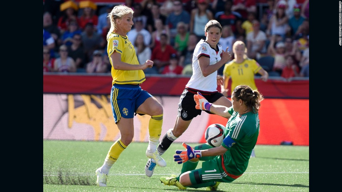 German goalkeeper Nadine Angerer makes a save against a charging Jakobsson.