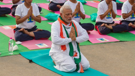 "Early on Sunday, Modi tweeted: ""Greetings to people around the world on 1st International Day of Yoga! Lets pledge to make Yoga an integral part of our daily lives #YogaDay."""