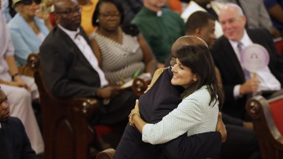 South Carolina Gov. Nikki Haley embraces U.S. Sen Tim Scott.