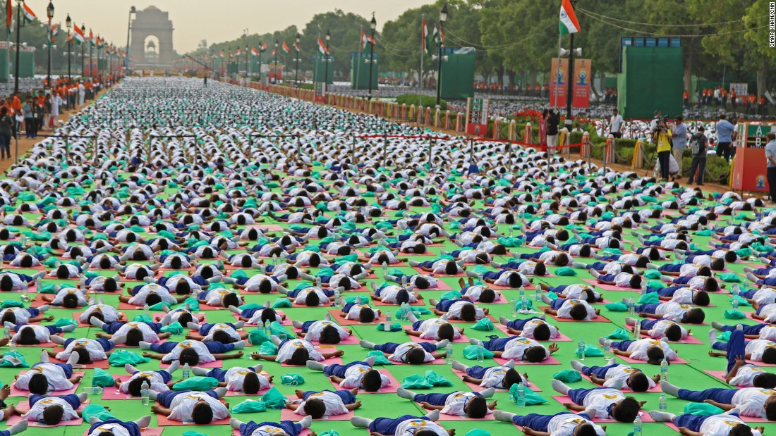 Tens of thousands of people packed Rajpath in New Delhi, India, for a mass yoga session on Sunday, June 21, 2015. The country's Prime Minister Narendra Modi is a vocal advocate of yoga and has been encouraging the country's residents to take part, especially out-of-shape office workers.