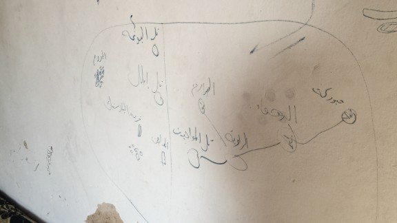 A rough map of the area near Tal Abyad is scrawled onto a wall in a former ISIS building.