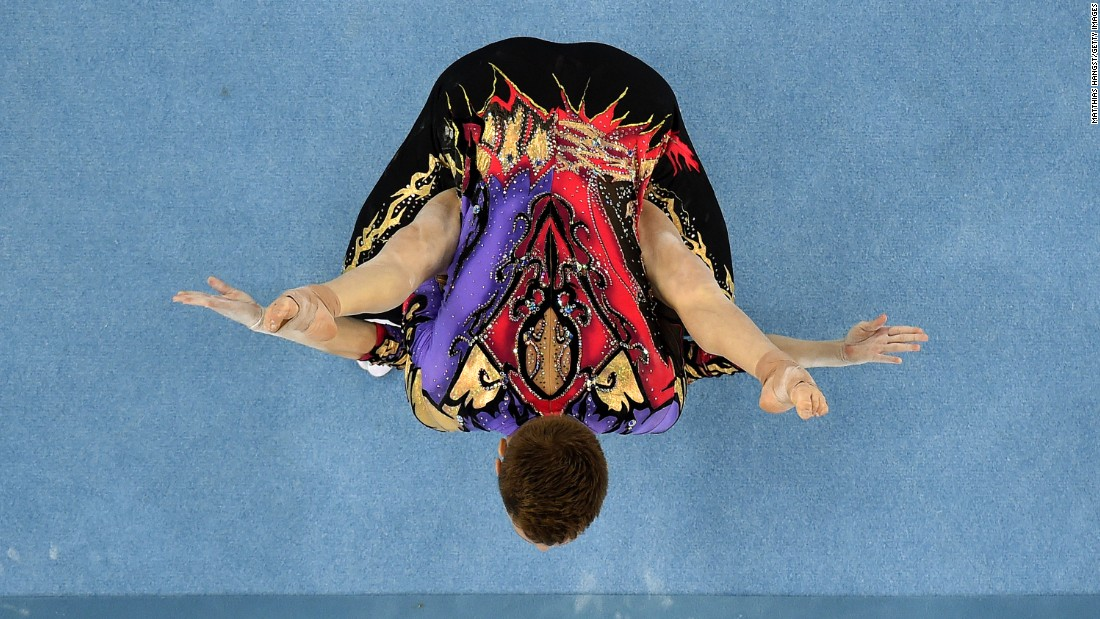 Russian gymnasts Marina Chernova and Georgy Pataraya compete in the mixed pair qualification during the Baku 2015 European Games on Wednesday, June 17, in Azerbaijan.