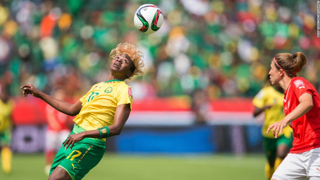 "Cameroon's Gaelle Enganamouit heads the ball during the first half of their FIFA Women's World Cup group C match against Switzerland at Commonwealth Stadium in Edmonton, Canada, on Tuesday, June 16. Cameroon won the game 2-1, but lost on Sunday to China, forfeiting its place in the quarter finals. <a href=""http://www.cnn.com/2015/06/06/sport/gallery/women-worlds-cup-2015/index.html"" target=""_blank"">See more photos from the Women's World Cup</a>"