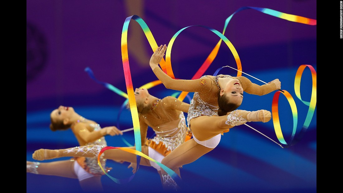 Team Russian Federation competes in the gymnastics rhythmic group all-round final during day five of the Baku 2015 European Games on Wednesday, June 17.