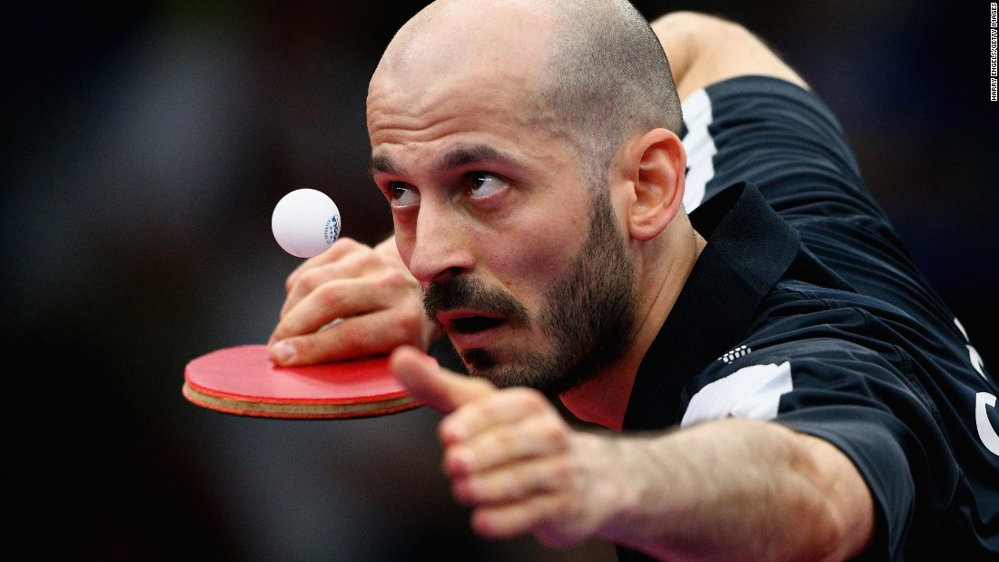 Constantin Cioti of Romania competes in the men's singles first round table tennis match during day four of the Baku 2015 European Games on Tuesday, June 16.