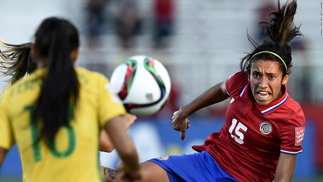 Costa Rica's defender Cristin Granados eyes the ball during a group E soccer match at the 2015 FIFA Women's World Cup against Brazil at Moncton Stadium in New Brunswick, Canada, on Wednesday, June 17. Brazil won the game 1-0.