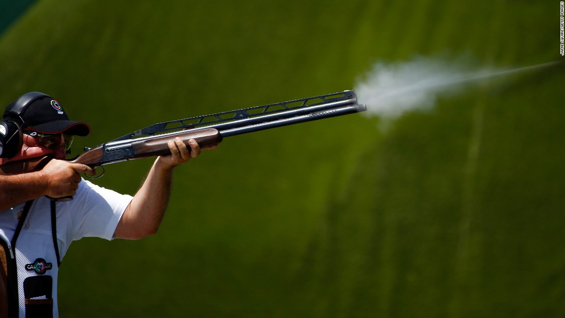 Norbert Hegyi of Hungary competes in the men's trap shooting qualification during day five of the Baku 2015 European Games on Wednesday, June 17.