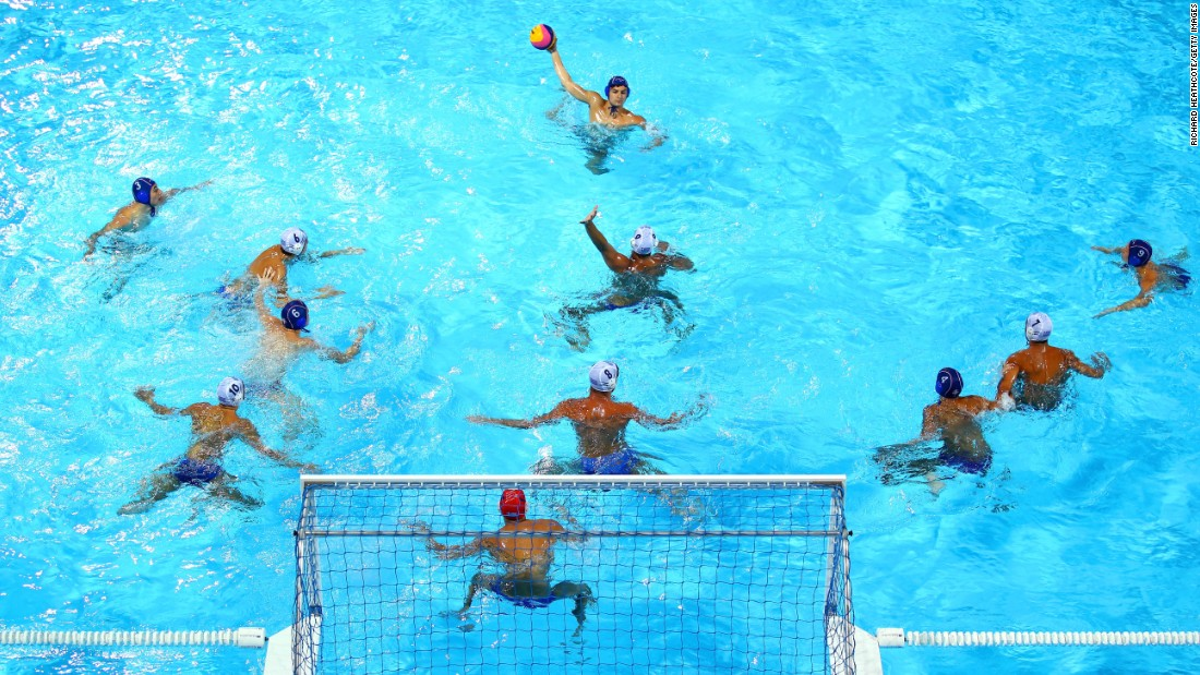 Serbia attacks Greece's goal during the men's water polo semi final match on day seven of the Baku 2015 European Games on Friday, June 19.