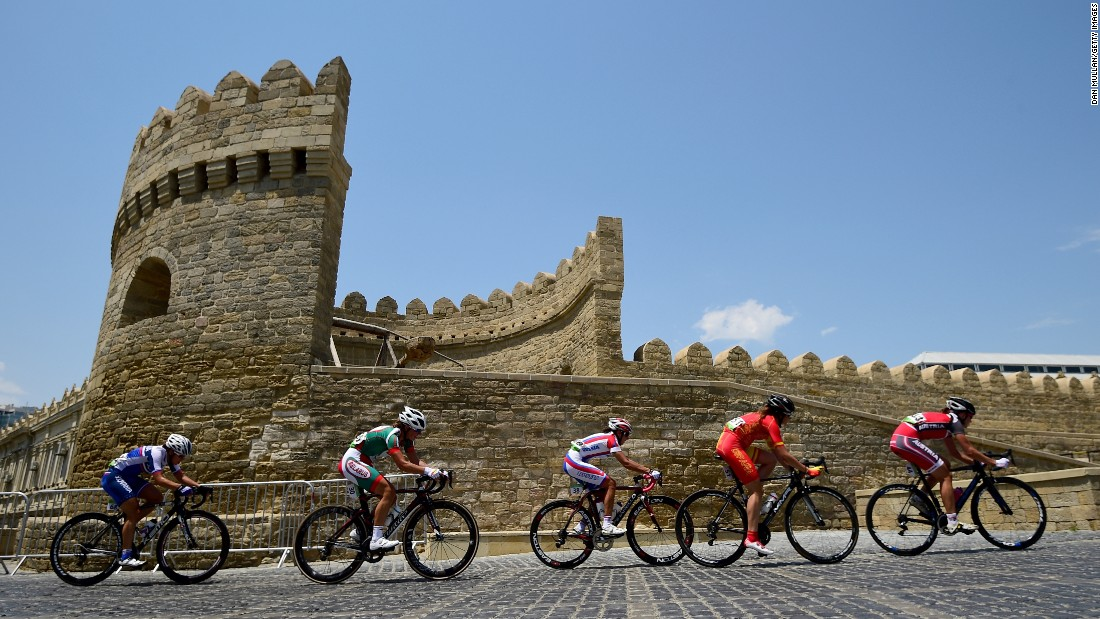 Riders climb through the Old Town at Freedom Square during the women's road race on day eight of the Baku 2015 European Games on Saturday, June 20.