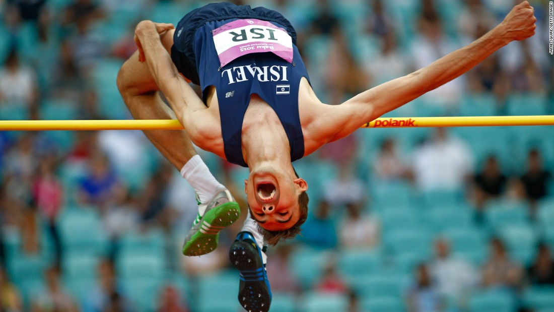 Dmitry Kroyter of Israel competes in the men's high jump at the Olympic Stadium during day nine of the Baku 2015 European Games on Sunday, June 21.