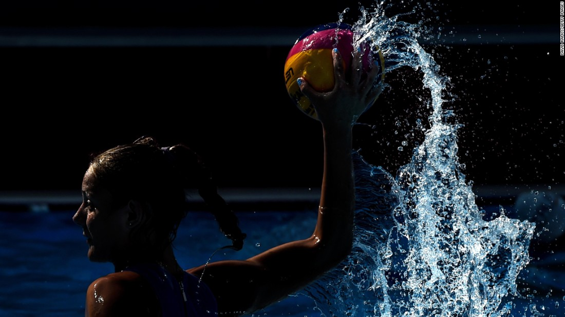 A player on Greece's water polo team warms up before the women's bronze medal match during day eight of the Baku 2015 European Games on Saturday, June 20.
