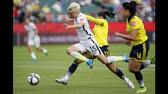 U.S. midfielder Megan Rapinoe is fouled by Colombia defender Angela Clavijo during a Women's World Cup match in Edmonton, Alberta, on Monday, June 22. The foul was in the box, leading to a penalty that Lloyd converted into a goal. The United States won the match 2-0 to advance to the quarterfinals.
